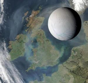 Juego visual que sirve para ilustrar el tamaño de Encélado frente a dimensiones de la Tierra. / NASA