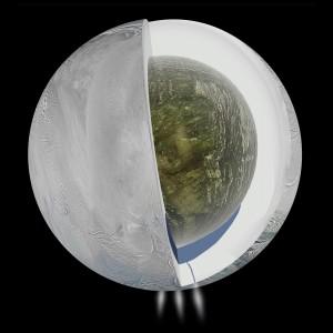 Recreación del interior de Encélado según el hallazgo proporcionado por Cassini. / NASA