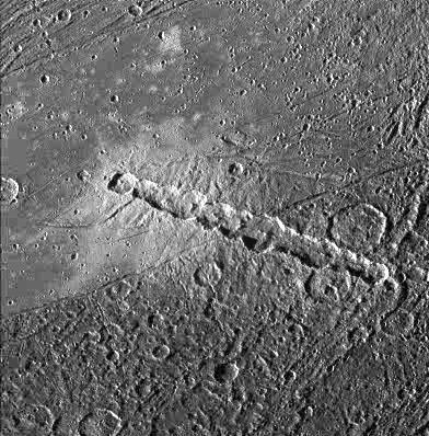 Una cadena de cráteres en Ganímedes, probablemente causado en un evento de impacto